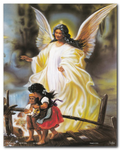 Guardian Angel With Children On Bridge Religious And Spiritual Wall Decor Art Print Poster (16x20)