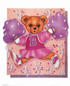 Ballerina Teddy Bear Pink Dress Kids Room Decor Wall Art Print Poster (16x20)