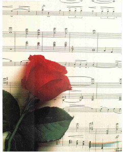 Red Rose Flower Musical Note Sheet Wall Decor Art Print Poster (16x20)