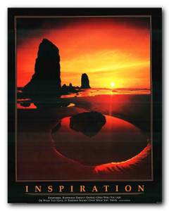 Inspiration Ocean Sunset Motivaional Wall Décor Art Print Poster (11x14)