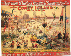 """The Great Coney Island Water carnival"" Vintage Canvas Wall Decor Fine Art Print Poster (24x36)"