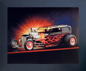 1932 Ford Tudor Flames Automobile Vintage Classic Car Wall Espressso Framed Picture Art Print (20x24)