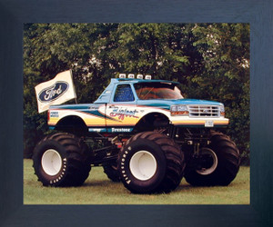 1993 Ford Bigfoot Monster Racing Truck Wall Poster (Espresso Framed Picture Art Print - 20x24)