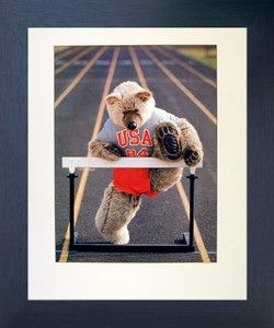 Cute Teddy Bear Racing Hurdle Funny Kids Room Wall Decor Espresso Framed Picture Art Print (20x24)
