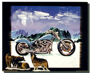 Wolves Mountain Blue Motorcycle Posters