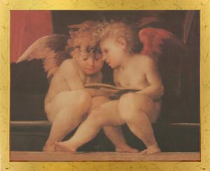 Guardian Angel With Children On Bridge Religious Golden Framed Wall Decor Art Print Poster (18x24)