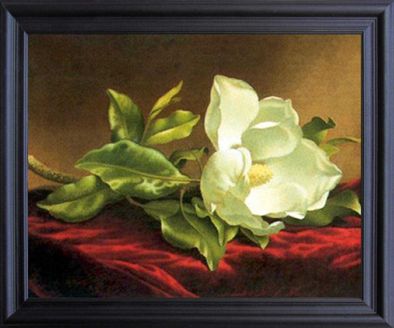 White Magnolia Grandiflora Martin Johnson Heade Wall Decor Black ...