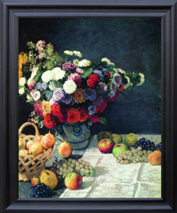 Bouquet of Colorful Flowers with Fruits Wall Decor Black Framed Art Print Poster (19x23)
