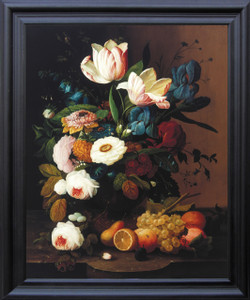 Bunch of Colorful Flowers With Fruits Still Life Wall Decor  Black Framed Art Print Poster (19x23)