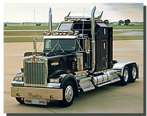 Black Kenworth Big Rig Truck Poster