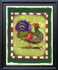 Blue and Green Chicken Rooster Wall Decor Black Framed Art Print Poster (19x23)