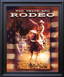 Vintage Western Rodeo Cowboy Horse Riding Wall Décor Black Framed Art Print Poster (19x23)