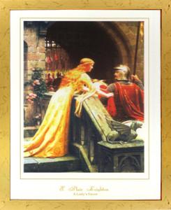 God Speed By Edmund Blair Leighton Wall Decor Golden Framed Art Print Poster (18x24)