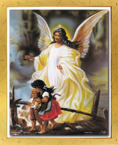 Guardian Angel With Children On Bridge Religious And Spiritual Wall Décor Golden Framed Art Print Poster (18x24)