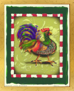Blue and Green Chicken Rooster Wall Decor Golden Framed Art Print Poster  (18x24)