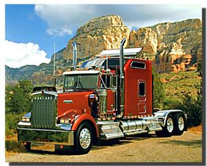 Maroon Kenworth Transportation Truck Poster