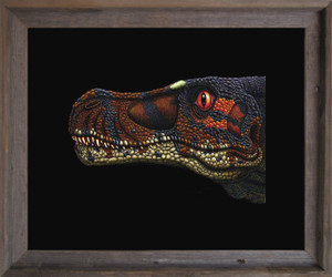 Dinosaur Velociraptor Kids Room Animal Wall Décor Barnwood Framed Art Print Poster (19x23)