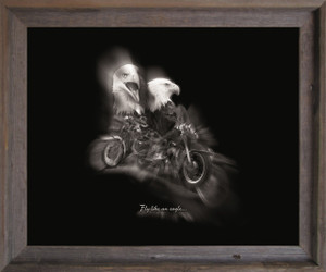 "Black and White Motorcycle ""Fly Like an Eagle"" Wall Decor Barnwood Framed Art Print Poster (19x23)"