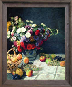 Bouquet of Colorful Flowers with Fruits Wall Decor Barnwood Framed Art Print Poster (19x23)