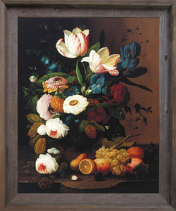 Bunch of Colorful Flowers With Fruits Still Life Wall Decor  Barnwood Framed Art Print Poster (19x23)