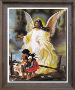 Guardian Angel With Children On Bridge Religious And Spiritual Wall Décor Barnwood Framed Art Print Poster (19x23)