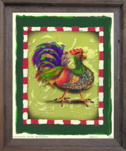 Blue and Green Chicken Rooster Wall Decor Barnwood Framed Art Print Poster (19x23)