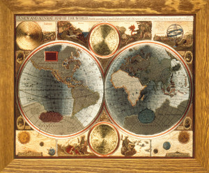 A New and Accvrat Map of the World Vintage Wall Decor Brown Rust Framed Art Print Poster (19x23)