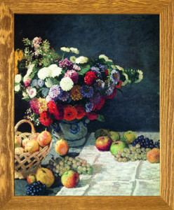 Bouquet of Colorful Flowers with Fruits Wall Decor Brown Rust Framed Art Print Poster (19x23)