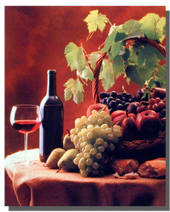 Kitchen Poster-Wine and Fruits