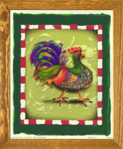 Blue and Green Chicken Rooster Wall Decor Brown Rust Framed Art Print Poster (19x23)