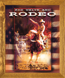 Vintage Western Rodeo Cowboy Horse Riding Wall Décor Brown Rust Framed Art Print Poster (19x23)