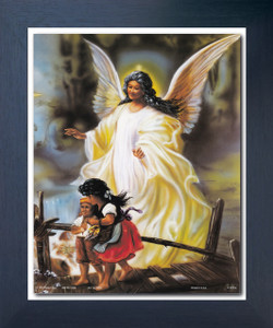 Guardian Angel With Children On Bridge Religious And Spiritual Wall Décor Espresso Framed Art Print Poster (18x24)