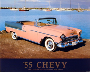 1955 Chevy Bel Air Convertible Classic Vintage Car Wall Decor Art Print Poster (16x20)