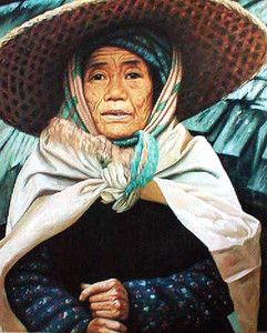 Asian Japanese Elderly Woman in Hat Wall Decor Art Print Poster (16x20)