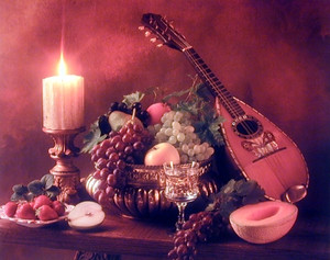 Mandolin Music Instrument & Fruits Still Life Wall Decor Art Print Poster (16x20)