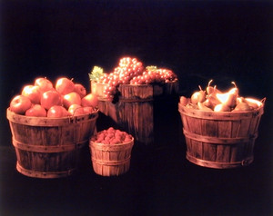 Baskets of Fruit (Apple, Grape & Pear) Still Life Wall Decor Art Print Poster (16x20)