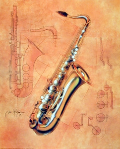 Fine Arts Music Instrument Saxophone Kids Room Wall Decor Art Print Poster (16x20)