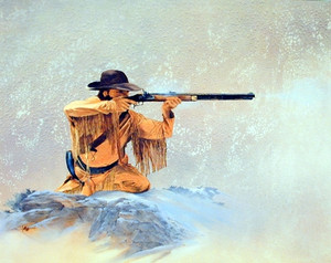 Mountain Man the Hunter Rifle Western Wall Decor Art Print Poster (16x20)