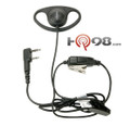 Kenwood Model KHS-27 D-Ring Headset with In-Line Push-to-Talk Mic fits over the ear.  This unit is works with the TK and ProTalk series radios.