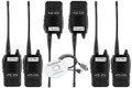 This deluxe professional business six pack of radios includes 6x Li-Ion batteries, 6x belt clips, 6x antenna, 6x charging adapters and 6x charging bases for the Olympia P324.