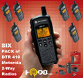 Six Pack of Motorola DTR410 Digital On-Site Two-way Radios. No monthly fees. No service towers. No per-minute charges.