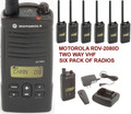 Six pack of Motorla RDV2080D 2 watt two-way radio operates on an innovative 27 business-exclusive VHF frequencies. An easy to read display and five programmable buttons