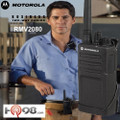 The Motorola RMV2080 radio ship standard with a carry holster with a swivel belt clip that lets you rotate the radio to fit comfortably. This model also uses the same audio accessories as the RDU series for flexible and dependable performance.