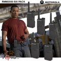 The Six Pack of RMM 2050 radios ship with a standard carry holster and  swivel belt clip that lets you rotate the radio to fit comfortably. This model also uses the same audio accessories as the RDU series for flexible and dependable performance. (Shown with optional Headset)
