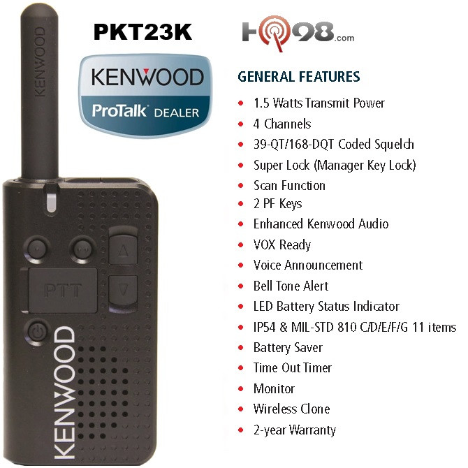 Kenwood ProTalk PKT 23 UHF Radio Ultra Lite 4 Channels Perfect For