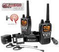 The Midland GXT2000-VP4 includes 2 belt clips, desktop charger, AC wall adapter, DC adapter, 2 rechargeable Lithium Polymer battery packs & 2 boom microphone headsets.