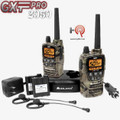 The Midland GXT-2050-VP4 includes 2 belt clips, desktop charger, AC wall adapter, DC adapter, 2 rechargeable Lithium Polymer battery packs & 2 boom microphone headsets.