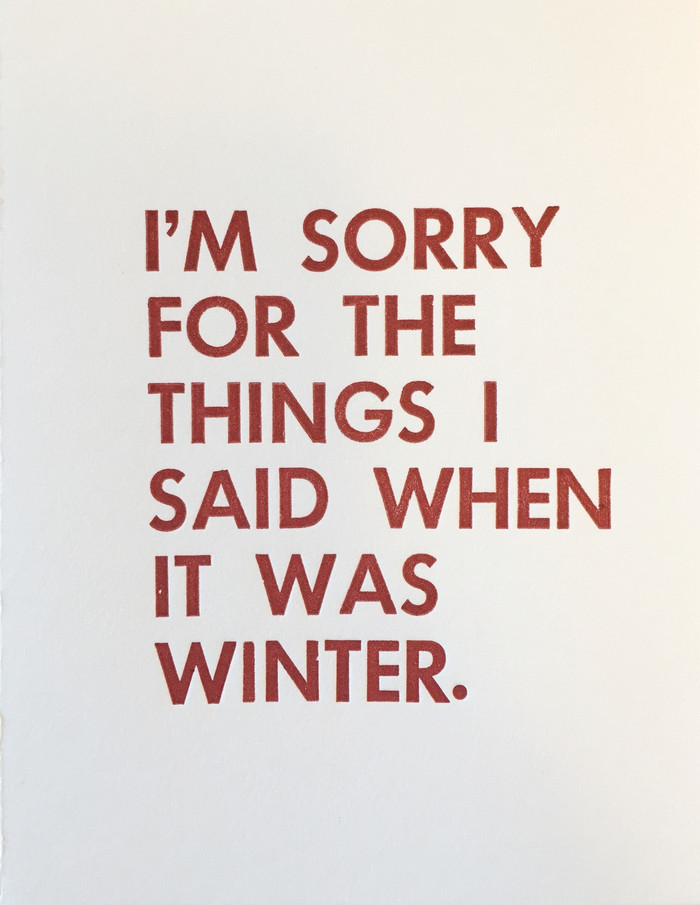 I'm Sorry - Greeting Card - Letterpress