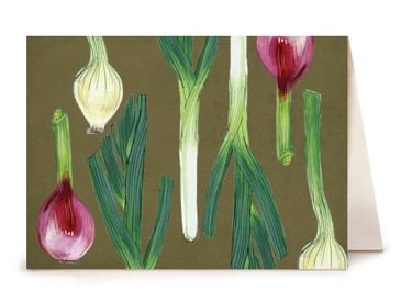 Spring Onions Greeting Card - Watercolor Series