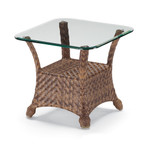 "Telescope Casual 24"" Square Wicker End Table with Glass Top"